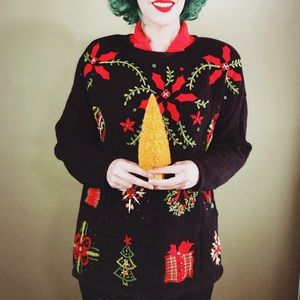 "Black Knit Vintage ""Ugly Christmas"" Sweater"
